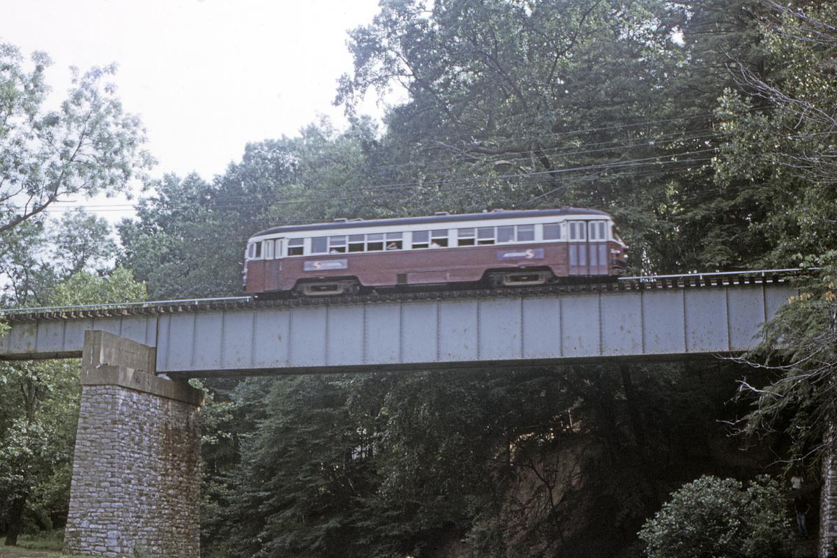 (603k, 1200x800)<br><b>Country:</b> United States<br><b>City:</b> Philadelphia, PA<br><b>System:</b> SEPTA (or Predecessor)<br><b>Line:</b> Rt. 101-Media<br><b>Location:</b> Near Paper Mill Road/Smedley Park<br><b>Car:</b> PSTC Streamliner (St. Louis Car Co., 1949)  <br><b>Collection of:</b> David Pirmann<br><b>Date:</b> 7/1972<br><b>Viewed (this week/total):</b> 0 / 52
