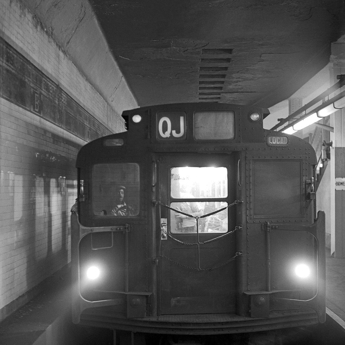 (474k, 1200x1200)<br><b>Country:</b> United States<br><b>City:</b> New York<br><b>System:</b> New York City Transit<br><b>Line:</b> BMT Nassau Street/Jamaica Line<br><b>Location:</b> Bowery <br><b>Route:</b> QJ<br><b>Car:</b> R-9 Series (Number Unknown)  <br><b>Collection of:</b> David Pirmann<br><b>Date:</b> 7/22/1969<br><b>Viewed (this week/total):</b> 11 / 104