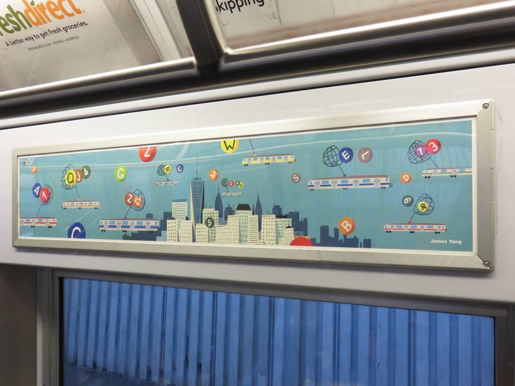 (100k, 1024x768)<br><b>Country:</b> United States<br><b>City:</b> New York<br><b>System:</b> New York City Transit<br><b>Location:</b> Subway Car Interior Art<br><b>Photo by:</b> Robbie Rosenfeld<br><b>Date:</b> 2/23/2017<br><b>Notes:</b> Art card: <i>Catching Lines</i>, by James Yang, 2016<br><b>Viewed (this week/total):</b> 0 / 29
