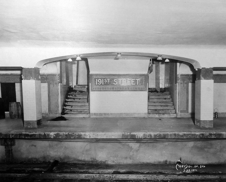 (882k, 1433x1151)<br><b>Country:</b> United States<br><b>City:</b> New York<br><b>System:</b> New York City Transit<br><b>Line:</b> IRT West Side Line<br><b>Location:</b> 191st Street<br><b>Date:</b> 3/23/1911<br><b>Viewed (this week/total):</b> 6 / 53