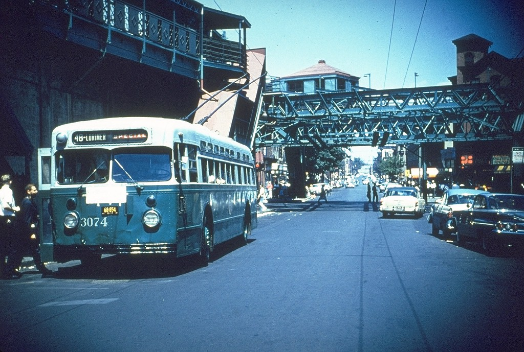 (252k, 1024x689)<br><b>Country:</b> United States<br><b>City:</b> New York<br><b>System:</b> B&QT Trolleybus<br><b>Route:</b> B48<br><b>Car:</b>  3074 <br><b>Collection of:</b> Joe Testagrose<br><b>Notes:</b> Franklin Ave North of Fulton St looking South. Franklin Ave Shuttle on left side.<br><b>Viewed (this week/total):</b> 0 / 5415