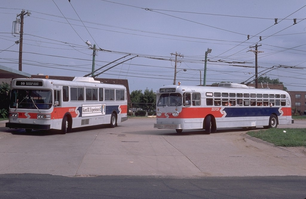 (169k, 1024x667)<br><b>Country:</b> United States<br><b>City:</b> Philadelphia, PA<br><b>System:</b> SEPTA (or Predecessor)<br><b>Line:</b> SEPTA Trackless Trolley Routes<br><b>Route:</b> Rt 59<br><b>Car:</b> PTC/SEPTA Marmon-Herrington TC-49 Trackless (1955) 325 <br><b>Photo by:</b> Gerald H. Landau<br><b>Collection of:</b> Joe Testagrose<br><b>Date:</b> 8/10/1980<br><b>Notes:</b> Bustelton Loop<br><b>Viewed (this week/total):</b> 0 / 829