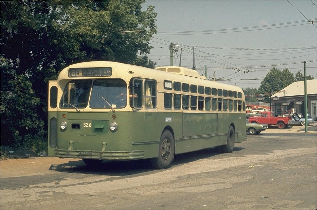 (220k, 1024x681)<br><b>Country:</b> United States<br><b>City:</b> Philadelphia, PA<br><b>System:</b> SEPTA (or Predecessor)<br><b>Line:</b> SEPTA Trackless Trolley Routes<br><b>Route:</b> Rt 66<br><b>Car:</b> PTC/SEPTA Marmon-Herrington TC-49 Trackless (1955) 326 <br><b>Collection of:</b> Joe Testagrose<br><b>Date:</b> 8/24/1973<br><b>Notes:</b> City Line Loop<br><b>Viewed (this week/total):</b> 0 / 852