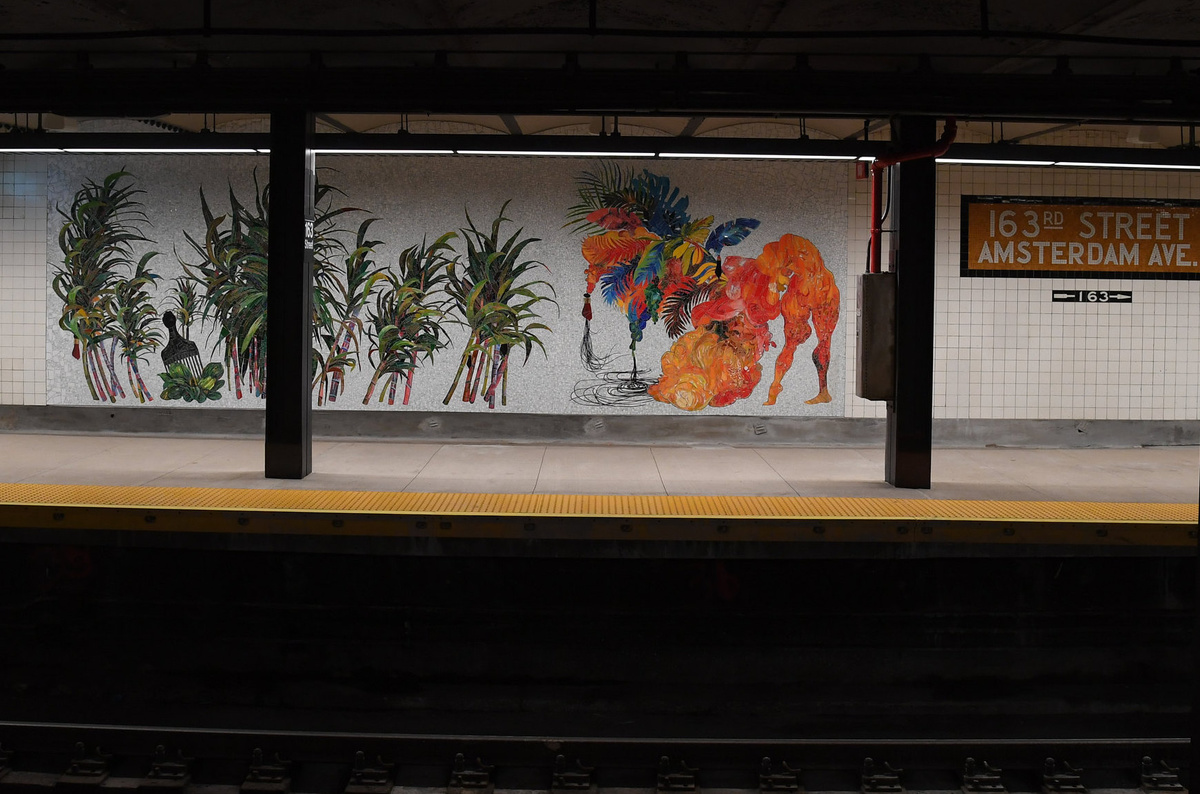 (339k, 1200x794)<br><b>Country:</b> United States<br><b>City:</b> New York<br><b>System:</b> New York City Transit<br><b>Line:</b> IND 8th Avenue Line<br><b>Location:</b> 163rd Street/Amsterdam Avenue<br><b>Photo by:</b> Marc A. Hermann / Metropolitan Transportation Authority<br><b>Date:</b> 9/27/2018<br><b>Artwork:</b> <i>Ciguapa Antellana, me llamo sueño de la madrugada. (who more sci-fi than us)</i>, Firelei Báez, 2018<br><b>License:</b> <a href=https://creativecommons.org/licenses/by/2.0/>Creative Commons Attribution 2.0 Generic</a> via Flickr<br><b>Viewed (this week/total):</b> 0 / 145