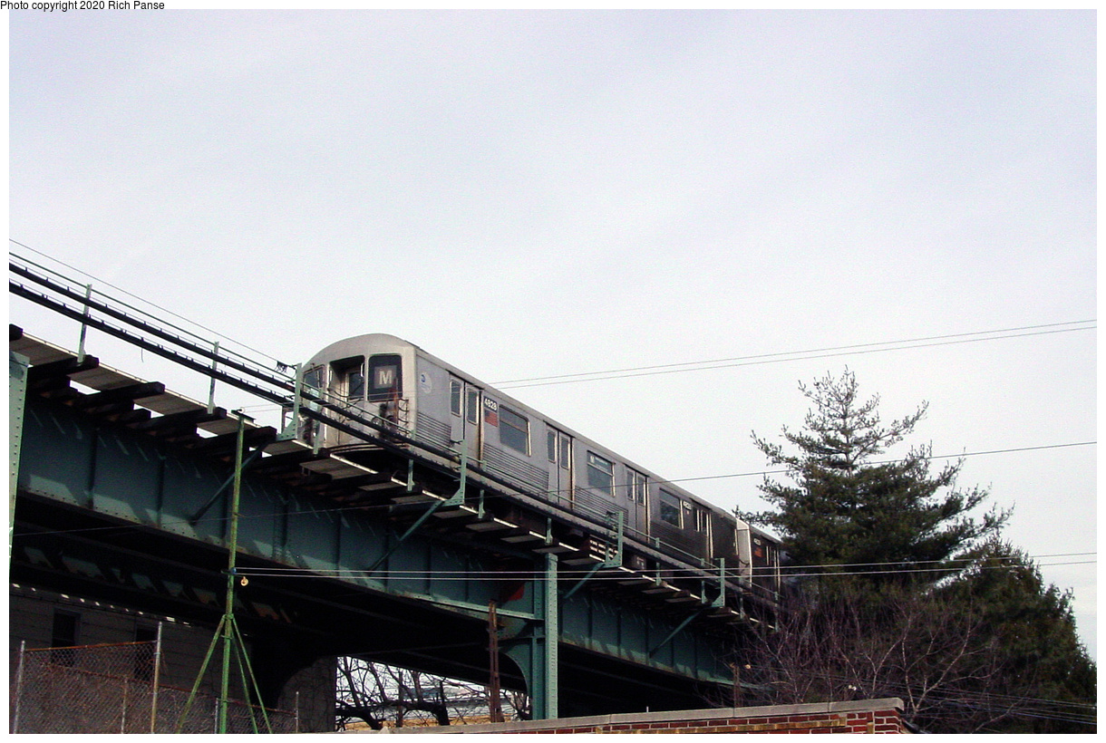 (485k, 1220x820)<br><b>Country:</b> United States<br><b>City:</b> New York<br><b>System:</b> New York City Transit<br><b>Line:</b> BMT Myrtle Avenue Line<br><b>Location:</b> Fresh Pond Road<br><b>Route:</b> M<br><b>Car:</b> R-42 (St. Louis, 1969-1970) 4828 <br><b>Photo by:</b> Richard Panse<br><b>Date:</b> 2/9/2004<br><b>Viewed (this week/total):</b> 4 / 35