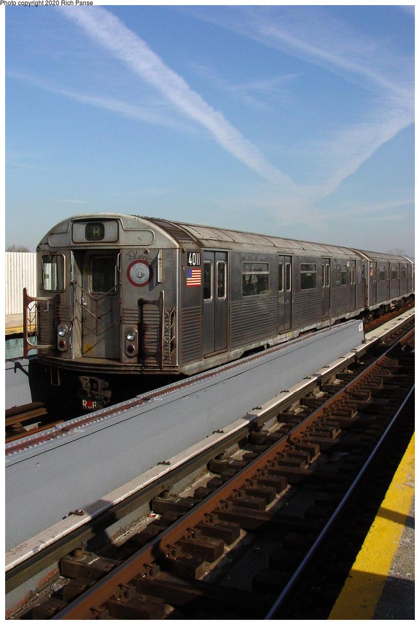 (489k, 820x1220)<br><b>Country:</b> United States<br><b>City:</b> New York<br><b>System:</b> New York City Transit<br><b>Line:</b> IND Fulton Street Line<br><b>Location:</b> 111th Street-Greenwood Avenue<br><b>Route:</b> Layup<br><b>Car:</b> R-38 (St. Louis, 1966-1967) 4011 <br><b>Photo by:</b> Richard Panse<br><b>Date:</b> 2/10/2004<br><b>Viewed (this week/total):</b> 4 / 31