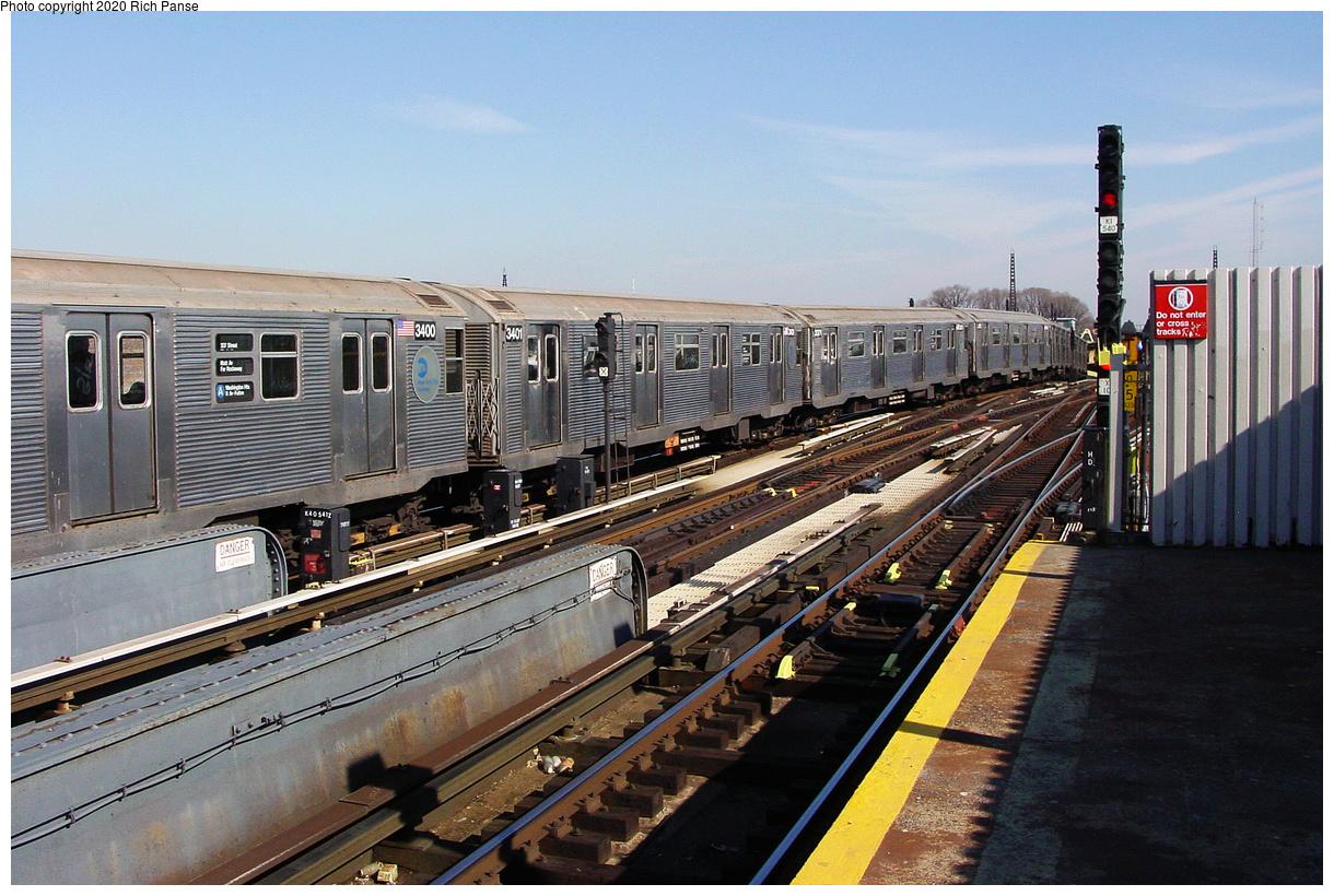 (559k, 1220x820)<br><b>Country:</b> United States<br><b>City:</b> New York<br><b>System:</b> New York City Transit<br><b>Line:</b> IND Fulton Street Line<br><b>Location:</b> Rockaway Boulevard<br><b>Route:</b> A<br><b>Car:</b> R-32 (Budd, 1964) 3400 <br><b>Photo by:</b> Richard Panse<br><b>Date:</b> 2/10/2004<br><b>Viewed (this week/total):</b> 6 / 39