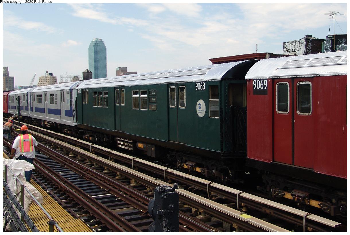(470k, 1220x820)<br><b>Country:</b> United States<br><b>City:</b> New York<br><b>System:</b> New York City Transit<br><b>Line:</b> BMT Astoria Line<br><b>Location:</b> 36th/Washington Aves.<br><b>Route:</b> Museum Train Service<br><b>Car:</b> R-33 Main Line (St. Louis, 1962-63) 9068 <br><b>Photo by:</b> Richard Panse<br><b>Date:</b> 6/19/2004<br><b>Viewed (this week/total):</b> 3 / 30