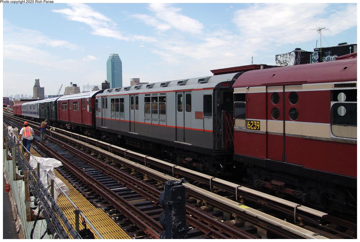 (494k, 1220x820)<br><b>Country:</b> United States<br><b>City:</b> New York<br><b>System:</b> New York City Transit<br><b>Line:</b> BMT Astoria Line<br><b>Location:</b> 36th/Washington Aves.<br><b>Route:</b> Museum Train Service<br><b>Car:</b> R-12 (American Car & Foundry, 1948) 5760 <br><b>Photo by:</b> Richard Panse<br><b>Date:</b> 6/19/2004<br><b>Viewed (this week/total):</b> 4 / 27