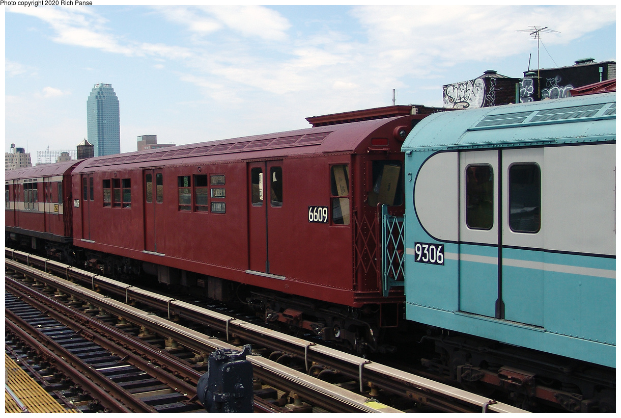 (452k, 1220x820)<br><b>Country:</b> United States<br><b>City:</b> New York<br><b>System:</b> New York City Transit<br><b>Line:</b> BMT Astoria Line<br><b>Location:</b> 36th/Washington Aves.<br><b>Route:</b> Museum Train Service<br><b>Car:</b> R-17 (St. Louis, 1955-56) 6609 <br><b>Photo by:</b> Richard Panse<br><b>Date:</b> 6/19/2004<br><b>Viewed (this week/total):</b> 3 / 25