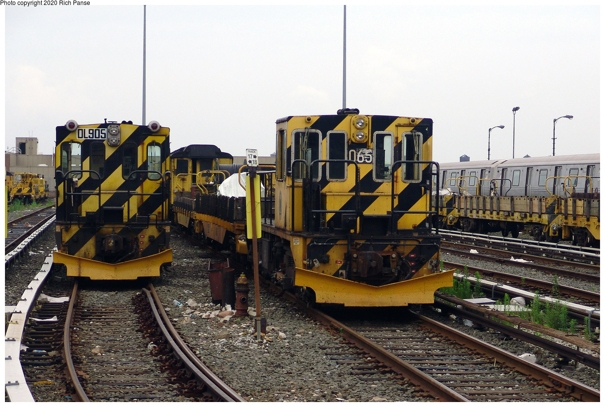 (551k, 1220x820)<br><b>Country:</b> United States<br><b>City:</b> New York<br><b>System:</b> New York City Transit<br><b>Location:</b> 36th Street Yard<br><b>Car:</b> R-120 Locomotive 905/065 <br><b>Photo by:</b> Richard Panse<br><b>Date:</b> 7/18/2004<br><b>Viewed (this week/total):</b> 2 / 19