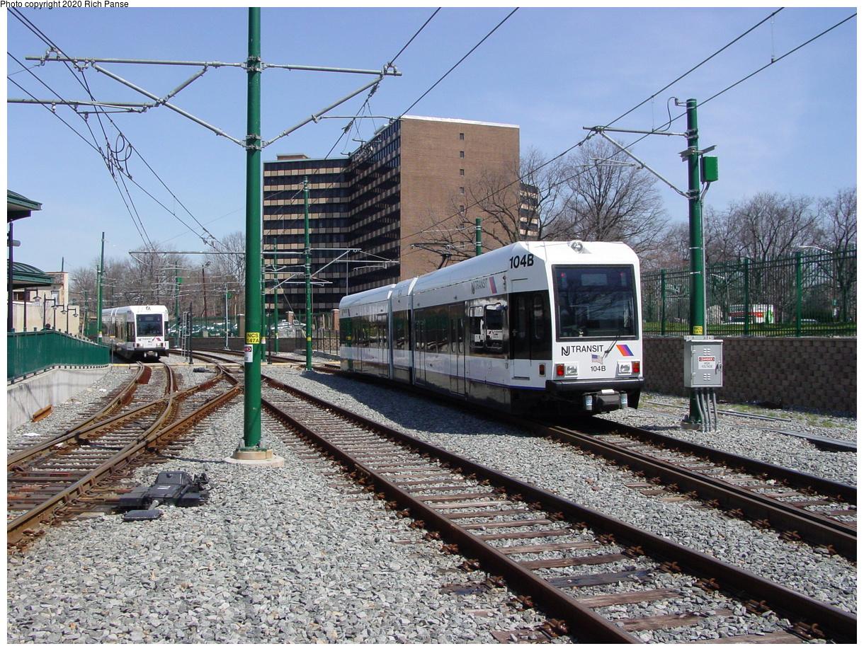 (598k, 1220x920)<br><b>Country:</b> United States<br><b>City:</b> Newark, NJ<br><b>System:</b> Newark City Subway<br><b>Location:</b> Branch Brook Park<br><b>Car:</b> NJT Kinki-Sharyo LRV (Newark) 104 <br><b>Photo by:</b> Richard Panse<br><b>Date:</b> 4/15/2003<br><b>Viewed (this week/total):</b> 2 / 10