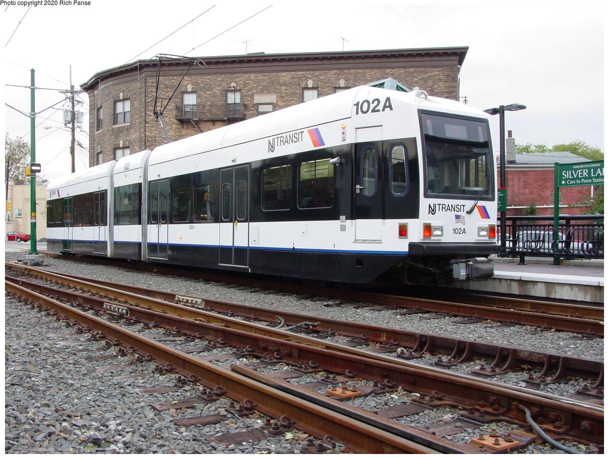(485k, 1220x920)<br><b>Country:</b> United States<br><b>City:</b> Belleville, NJ<br><b>System:</b> Newark City Subway<br><b>Location:</b> Silver Lake<br><b>Car:</b> NJT Kinki-Sharyo LRV (Newark) 102 <br><b>Photo by:</b> Richard Panse<br><b>Date:</b> 10/28/2003<br><b>Viewed (this week/total):</b> 4 / 11