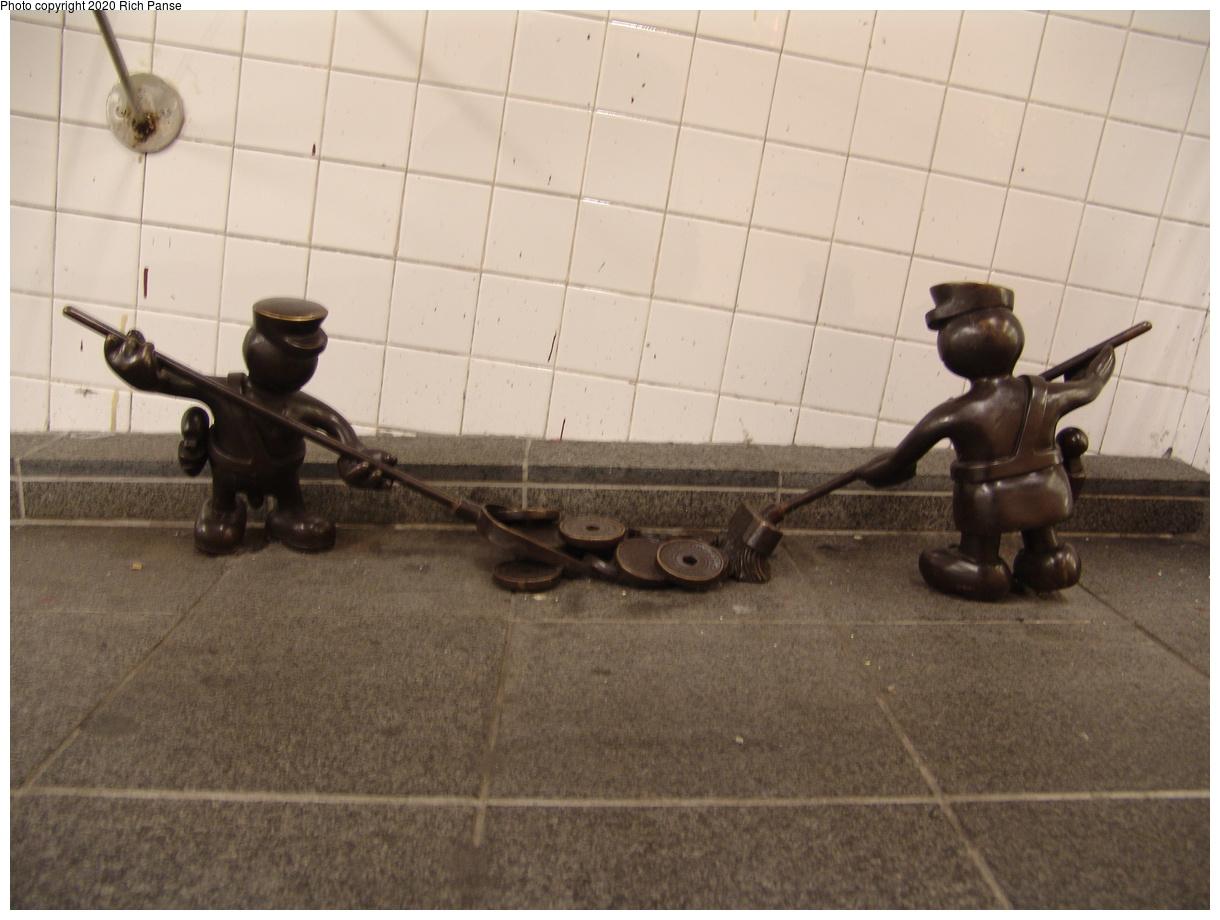 (354k, 1220x920)<br><b>Country:</b> United States<br><b>City:</b> New York<br><b>System:</b> New York City Transit<br><b>Line:</b> IND 8th Avenue Line<br><b>Location:</b> 14th Street<br><b>Photo by:</b> Richard Panse<br><b>Date:</b> 12/15/2003<br><b>Artwork:</b> <i>Life Underground</i>, Tom Otterness, 2000<br><b>Viewed (this week/total):</b> 3 / 15