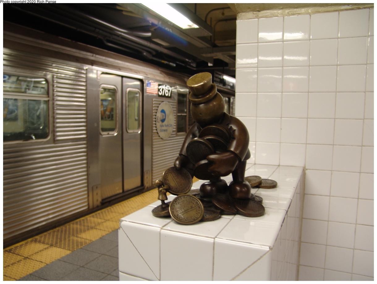 (305k, 1220x920)<br><b>Country:</b> United States<br><b>City:</b> New York<br><b>System:</b> New York City Transit<br><b>Line:</b> IND 8th Avenue Line<br><b>Location:</b> 14th Street<br><b>Photo by:</b> Richard Panse<br><b>Date:</b> 12/15/2003<br><b>Artwork:</b> <i>Life Underground</i>, Tom Otterness, 2000<br><b>Viewed (this week/total):</b> 5 / 30