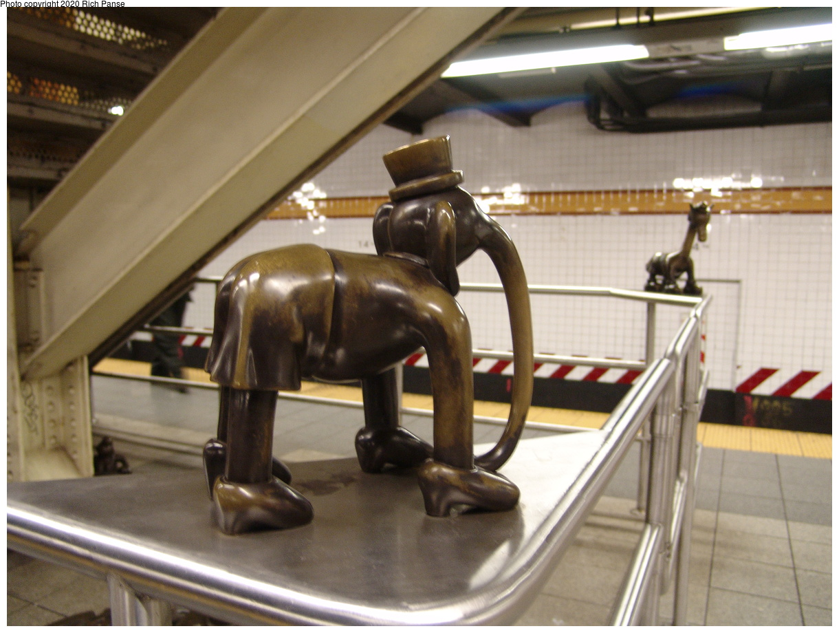 (381k, 1220x920)<br><b>Country:</b> United States<br><b>City:</b> New York<br><b>System:</b> New York City Transit<br><b>Line:</b> IND 8th Avenue Line<br><b>Location:</b> 14th Street<br><b>Photo by:</b> Richard Panse<br><b>Date:</b> 12/15/2003<br><b>Artwork:</b> <i>Life Underground</i>, Tom Otterness, 2000<br><b>Viewed (this week/total):</b> 4 / 17