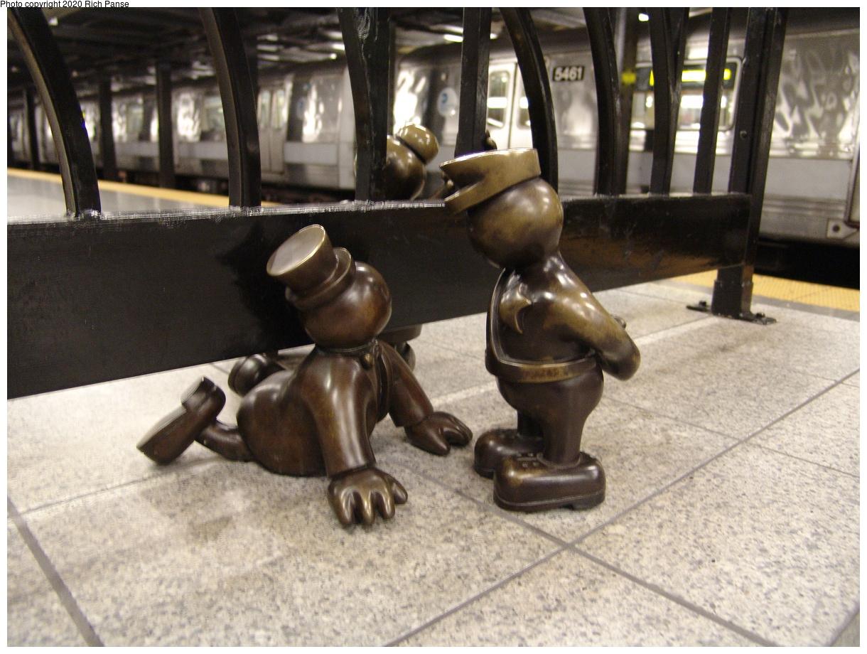 (446k, 1220x920)<br><b>Country:</b> United States<br><b>City:</b> New York<br><b>System:</b> New York City Transit<br><b>Line:</b> IND 8th Avenue Line<br><b>Location:</b> 14th Street<br><b>Photo by:</b> Richard Panse<br><b>Date:</b> 12/15/2003<br><b>Artwork:</b> <i>Life Underground</i>, Tom Otterness, 2000<br><b>Viewed (this week/total):</b> 6 / 21