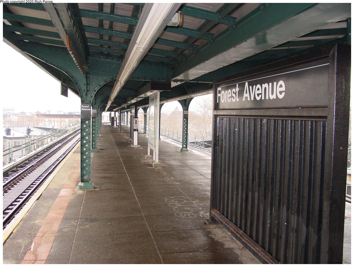 (497k, 1220x920)<br><b>Country:</b> United States<br><b>City:</b> New York<br><b>System:</b> New York City Transit<br><b>Line:</b> BMT Myrtle Avenue Line<br><b>Location:</b> Forest Avenue<br><b>Photo by:</b> Richard Panse<br><b>Date:</b> 1/29/2003<br><b>Viewed (this week/total):</b> 45 / 134