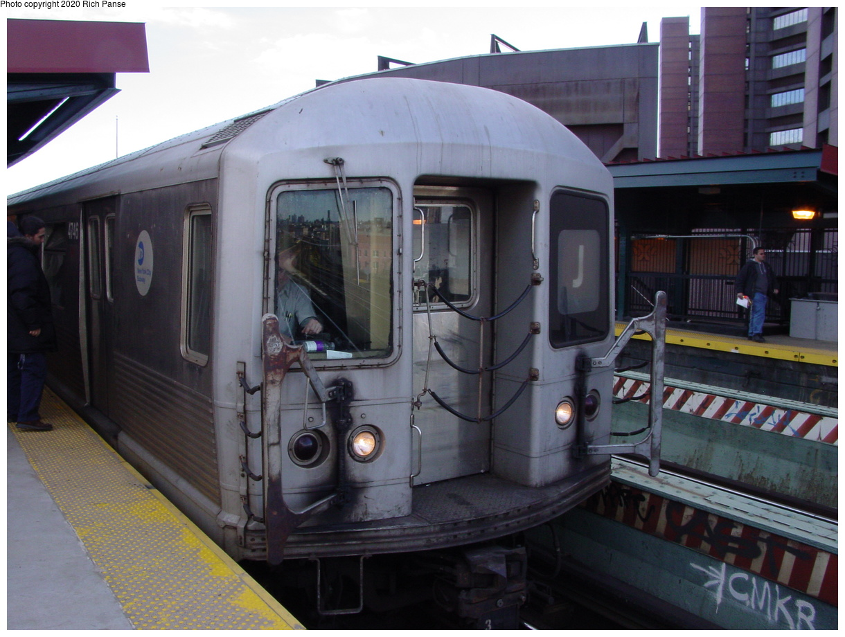 (386k, 1220x920)<br><b>Country:</b> United States<br><b>City:</b> New York<br><b>System:</b> New York City Transit<br><b>Line:</b> BMT Nassau Street-Jamaica Line<br><b>Location:</b> Flushing Avenue<br><b>Route:</b> J<br><b>Car:</b> R-42 (St. Louis, 1969-1970) 4746 <br><b>Photo by:</b> Richard Panse<br><b>Date:</b> 2/5/2003<br><b>Viewed (this week/total):</b> 5 / 31