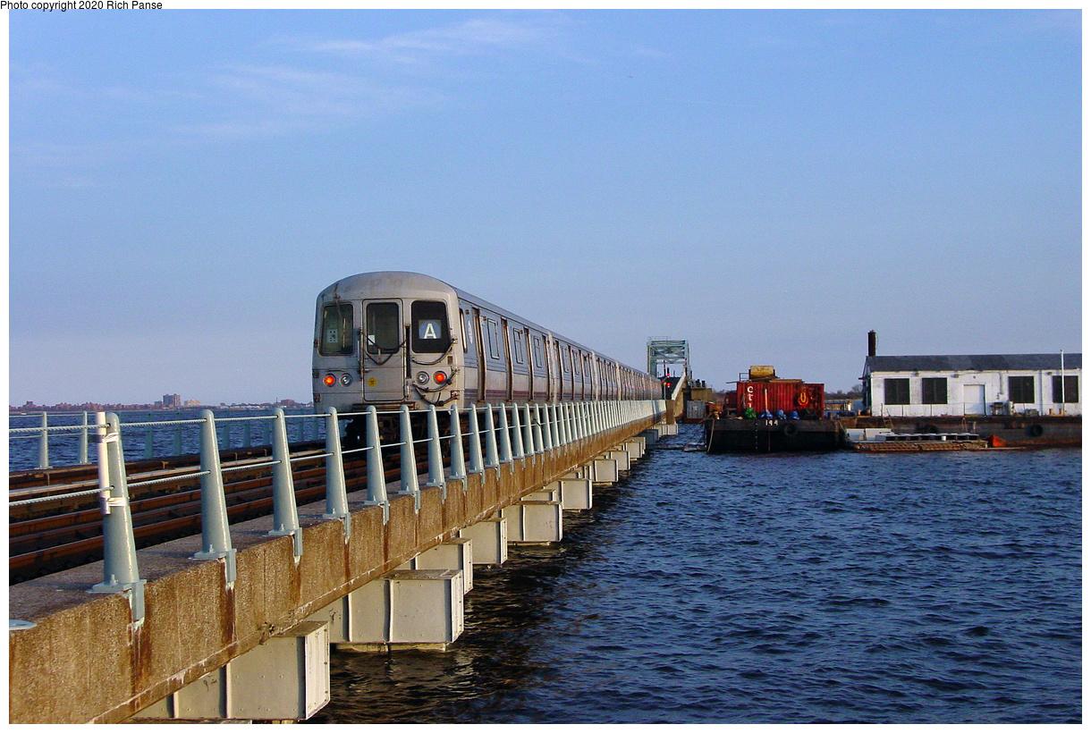 (576k, 1220x820)<br><b>Country:</b> United States<br><b>City:</b> New York<br><b>System:</b> New York City Transit<br><b>Line:</b> IND Rockaway Line<br><b>Location:</b> Broad Channel<br><b>Route:</b> A<br><b>Car:</b> R-44 (St. Louis, 1971-73)  <br><b>Photo by:</b> Richard Panse<br><b>Date:</b> 4/30/2003<br><b>Viewed (this week/total):</b> 5 / 39