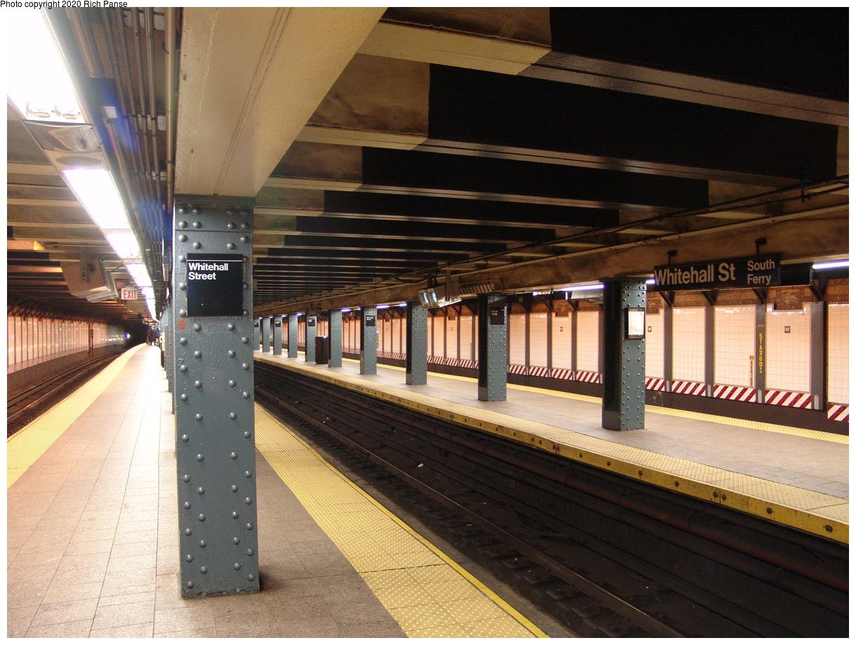 (490k, 1220x920)<br><b>Country:</b> United States<br><b>City:</b> New York<br><b>System:</b> New York City Transit<br><b>Line:</b> BMT Broadway Line<br><b>Location:</b> Whitehall Street<br><b>Photo by:</b> Richard Panse<br><b>Date:</b> 12/12/2003<br><b>Viewed (this week/total):</b> 4 / 32