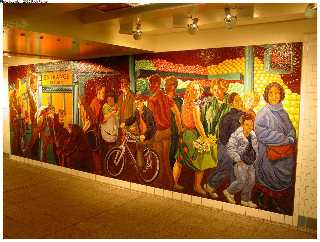 (603k, 1220x920)<br><b>Country:</b> United States<br><b>City:</b> New York<br><b>System:</b> New York City Transit<br><b>Line:</b> IRT West Side Line<br><b>Location:</b> Times Square/42nd Street<br><b>Photo by:</b> Richard Panse<br><b>Date:</b> 7/1/2003<br><b>Artwork:</b> <i>The Return of Spring/The Onset of Winter</i>, Jack Beal, 1999<br><b>Viewed (this week/total):</b> 47 / 123
