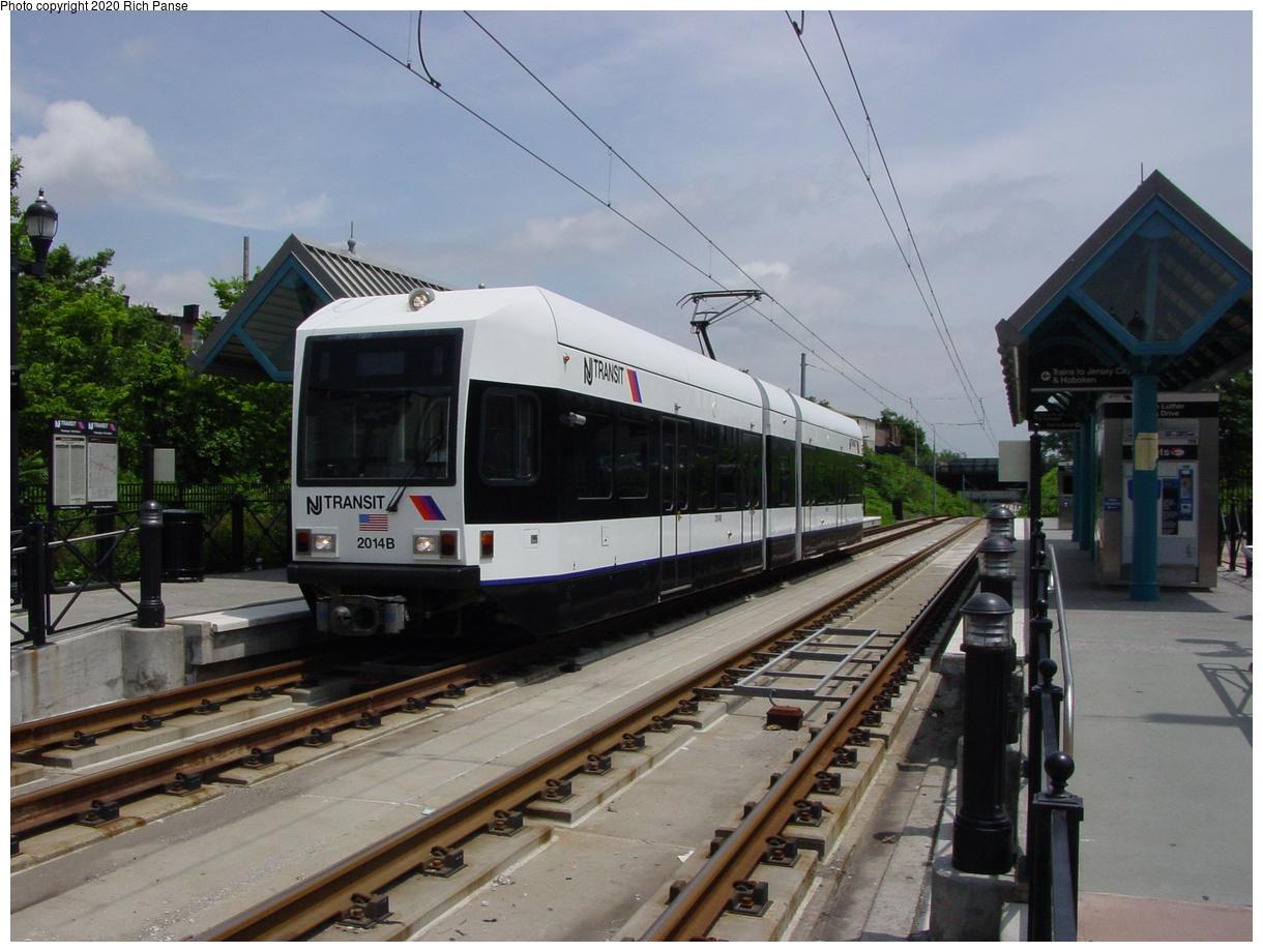 (392k, 1220x920)<br><b>Country:</b> United States<br><b>City:</b> Jersey City, NJ<br><b>System:</b> Hudson Bergen Light Rail<br><b>Location:</b> Martin Luther King Drive<br><b>Car:</b> NJT-HBLR LRV (Kinki-Sharyo, 1998-99) 2014 <br><b>Photo by:</b> Richard Panse<br><b>Date:</b> 6/16/2003<br><b>Viewed (this week/total):</b> 2 / 7