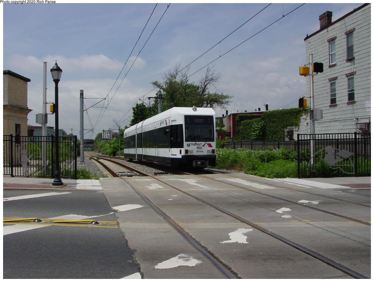 (418k, 1220x920)<br><b>Country:</b> United States<br><b>City:</b> Jersey City, NJ<br><b>System:</b> Hudson Bergen Light Rail<br><b>Location:</b> Martin Luther King Drive<br><b>Car:</b> NJT-HBLR LRV (Kinki-Sharyo, 1998-99) 2014 <br><b>Photo by:</b> Richard Panse<br><b>Date:</b> 6/16/2003<br><b>Viewed (this week/total):</b> 2 / 9