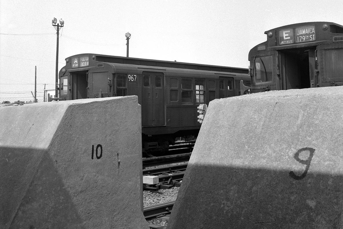 (364k, 1200x800)<br><b>Country:</b> United States<br><b>City:</b> New York<br><b>System:</b> New York City Transit<br><b>Location:</b> Rockaway Park Yard<br><b>Car:</b> R-6-3 (American Car & Foundry, 1935) 967 <br><b>Collection of:</b> David Pirmann<br><b>Date:</b> 7/4/1969<br><b>Viewed (this week/total):</b> 2 / 109