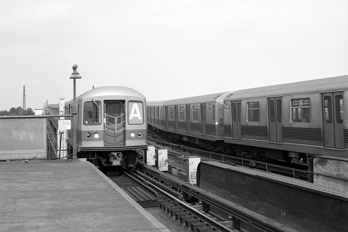 (351k, 1200x800)<br><b>Country:</b> United States<br><b>City:</b> New York<br><b>System:</b> New York City Transit<br><b>Line:</b> IND Fulton Street Line<br><b>Location:</b> Rockaway Boulevard<br><b>Route:</b> A<br><b>Car:</b> R-42 (St. Louis, 1969-1970)  <br><b>Collection of:</b> David Pirmann<br><b>Date:</b> 7/5/1969<br><b>Viewed (this week/total):</b> 1 / 118
