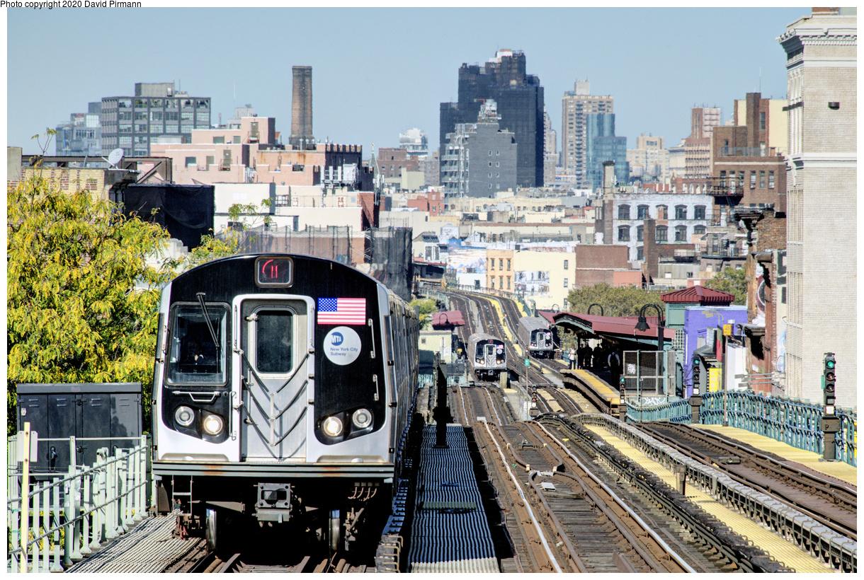 (705k, 1220x820)<br><b>Country:</b> United States<br><b>City:</b> New York<br><b>System:</b> New York City Transit<br><b>Line:</b> BMT Nassau Street-Jamaica Line<br><b>Location:</b> Myrtle Avenue<br><b>Route:</b> M<br><b>Car:</b> R-160A/R-160B Series (Number Unknown)  <br><b>Photo by:</b> David Pirmann<br><b>Date:</b> 10/20/2017<br><b>Viewed (this week/total):</b> 1 / 319