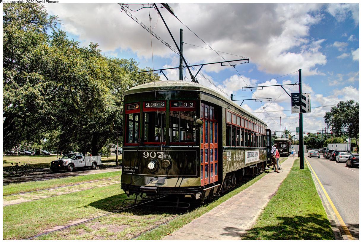 (858k, 1220x820)<br><b>Country:</b> United States<br><b>City:</b> New Orleans, LA<br><b>System:</b> New Orleans RTA<br><b>Line:</b> St. Charles<br><b>Location:</b> Carrollton/Claiborne<br><b>Car:</b> New Orleans Public Service (Perley A. Thomas Car Works, 1924) 907 <br><b>Photo by:</b> David Pirmann<br><b>Date:</b> 5/24/2019<br><b>Viewed (this week/total):</b> 1 / 18