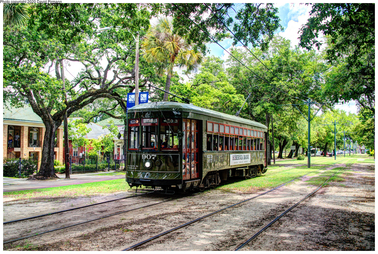 (1207k, 1220x820)<br><b>Country:</b> United States<br><b>City:</b> New Orleans, LA<br><b>System:</b> New Orleans RTA<br><b>Line:</b> St. Charles<br><b>Location:</b> Carrollton/Panola<br><b>Car:</b> New Orleans Public Service (Perley A. Thomas Car Works, 1924) 907 <br><b>Photo by:</b> David Pirmann<br><b>Date:</b> 5/24/2019<br><b>Viewed (this week/total):</b> 0 / 16