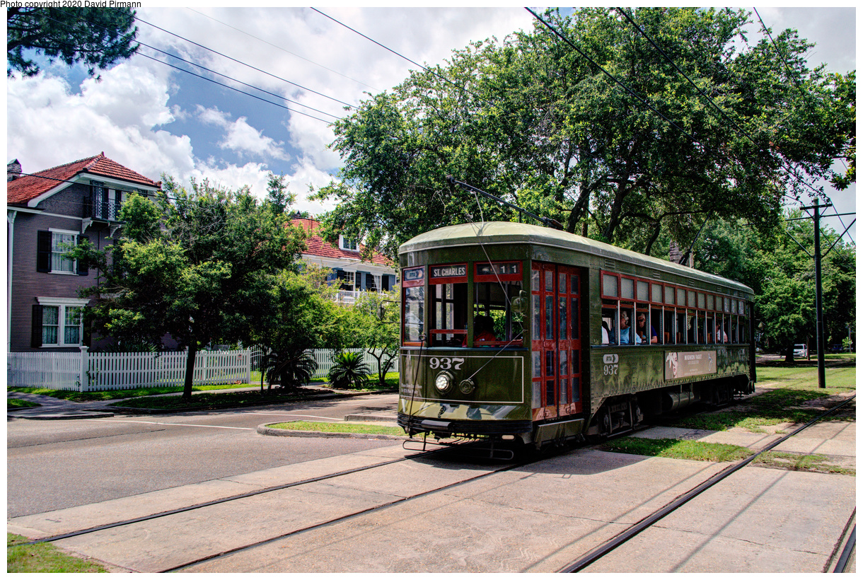 (901k, 1220x820)<br><b>Country:</b> United States<br><b>City:</b> New Orleans, LA<br><b>System:</b> New Orleans RTA<br><b>Line:</b> St. Charles<br><b>Location:</b> Carrollton/Panola<br><b>Car:</b> New Orleans Public Service (Perley A. Thomas Car Works, 1924) 937 <br><b>Photo by:</b> David Pirmann<br><b>Date:</b> 5/24/2019<br><b>Viewed (this week/total):</b> 1 / 15