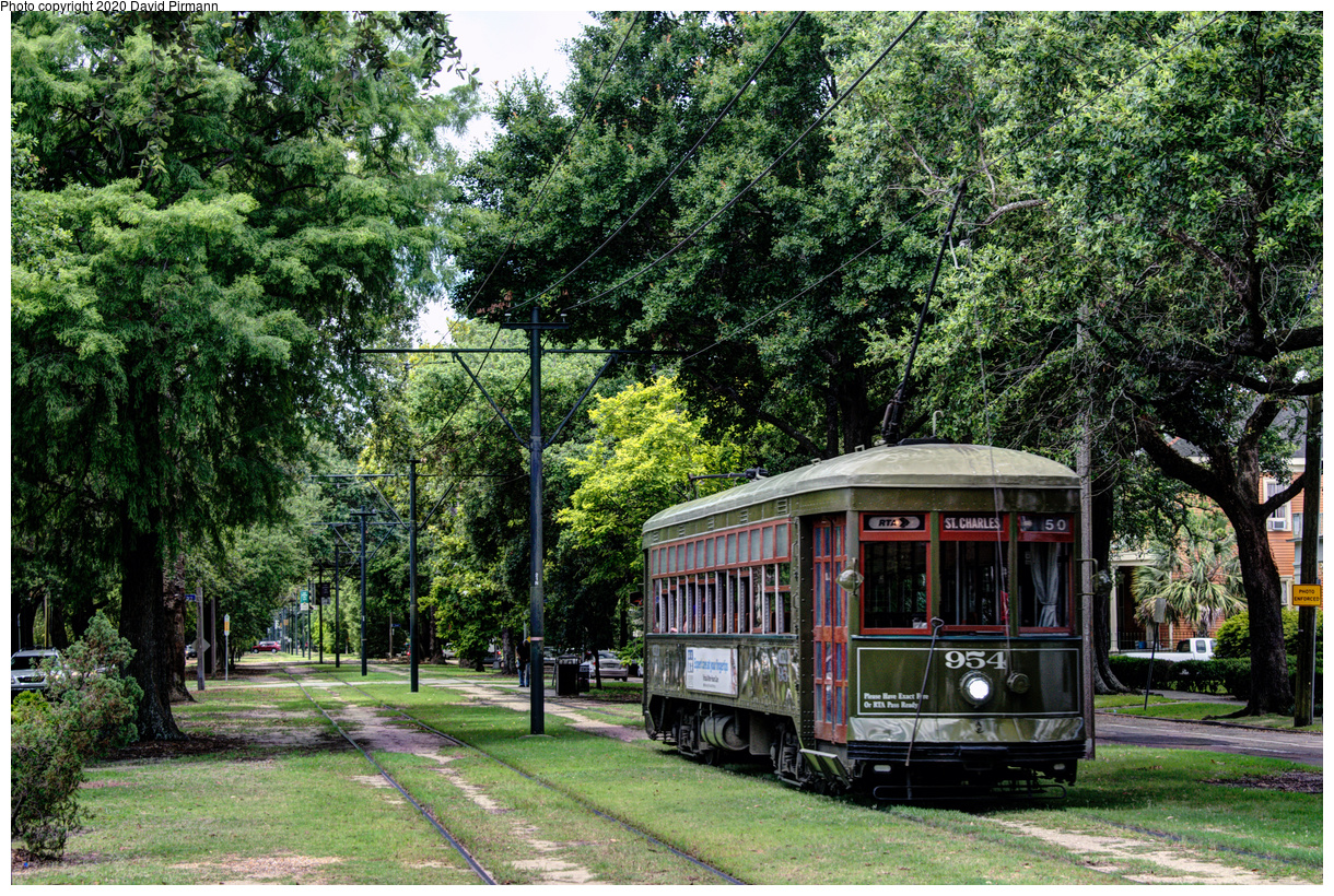 (920k, 1220x820)<br><b>Country:</b> United States<br><b>City:</b> New Orleans, LA<br><b>System:</b> New Orleans RTA<br><b>Line:</b> St. Charles<br><b>Location:</b> Carrollton/Spruce<br><b>Car:</b> New Orleans Public Service (Perley A. Thomas Car Works, 1924) 954 <br><b>Photo by:</b> David Pirmann<br><b>Date:</b> 5/24/2019<br><b>Viewed (this week/total):</b> 0 / 18