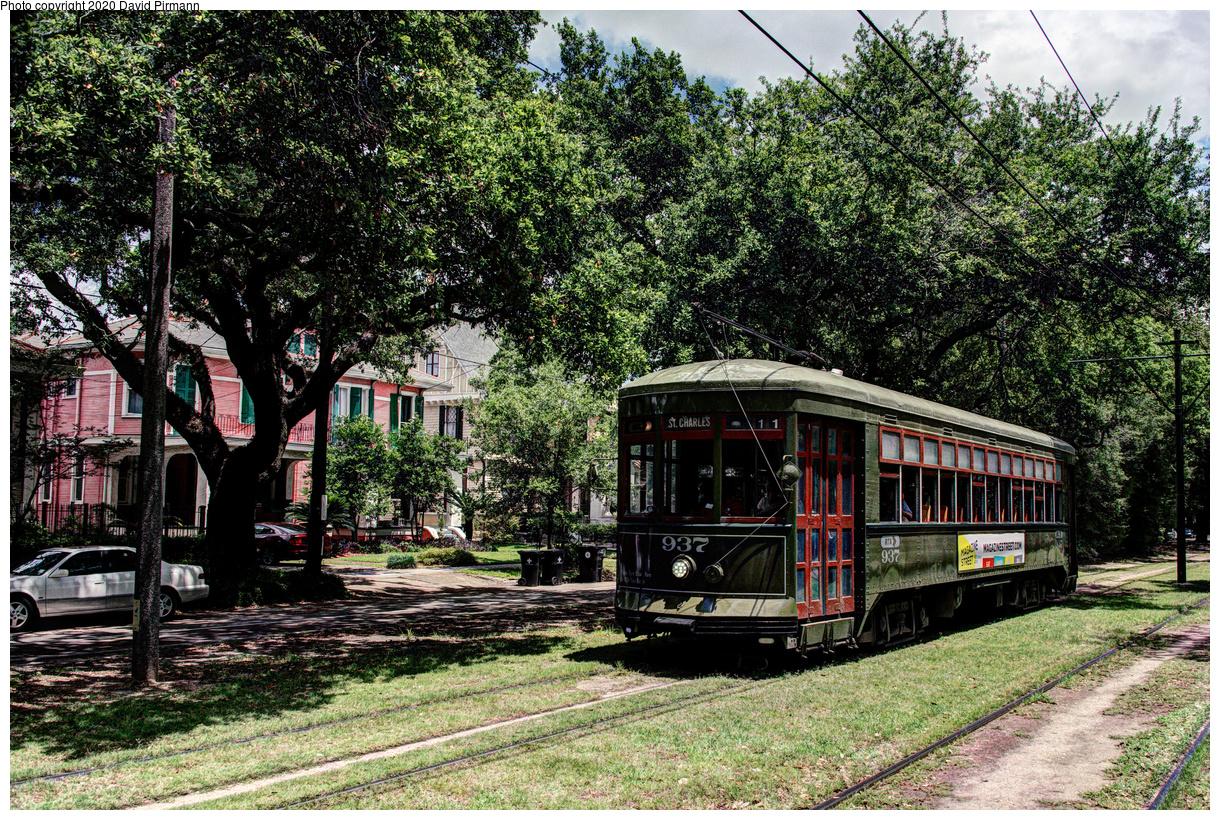(985k, 1220x820)<br><b>Country:</b> United States<br><b>City:</b> New Orleans, LA<br><b>System:</b> New Orleans RTA<br><b>Line:</b> St. Charles<br><b>Location:</b> Carrollton/Green<br><b>Car:</b> New Orleans Public Service (Perley A. Thomas Car Works, 1924) 937 <br><b>Photo by:</b> David Pirmann<br><b>Date:</b> 5/24/2019<br><b>Viewed (this week/total):</b> 0 / 15