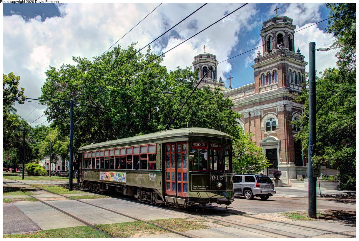 (883k, 1220x820)<br><b>Country:</b> United States<br><b>City:</b> New Orleans, LA<br><b>System:</b> New Orleans RTA<br><b>Line:</b> St. Charles<br><b>Location:</b> Carrollton/Plum<br><b>Car:</b> New Orleans Public Service (Perley A. Thomas Car Works, 1924) 915 <br><b>Photo by:</b> David Pirmann<br><b>Date:</b> 5/24/2019<br><b>Viewed (this week/total):</b> 1 / 18