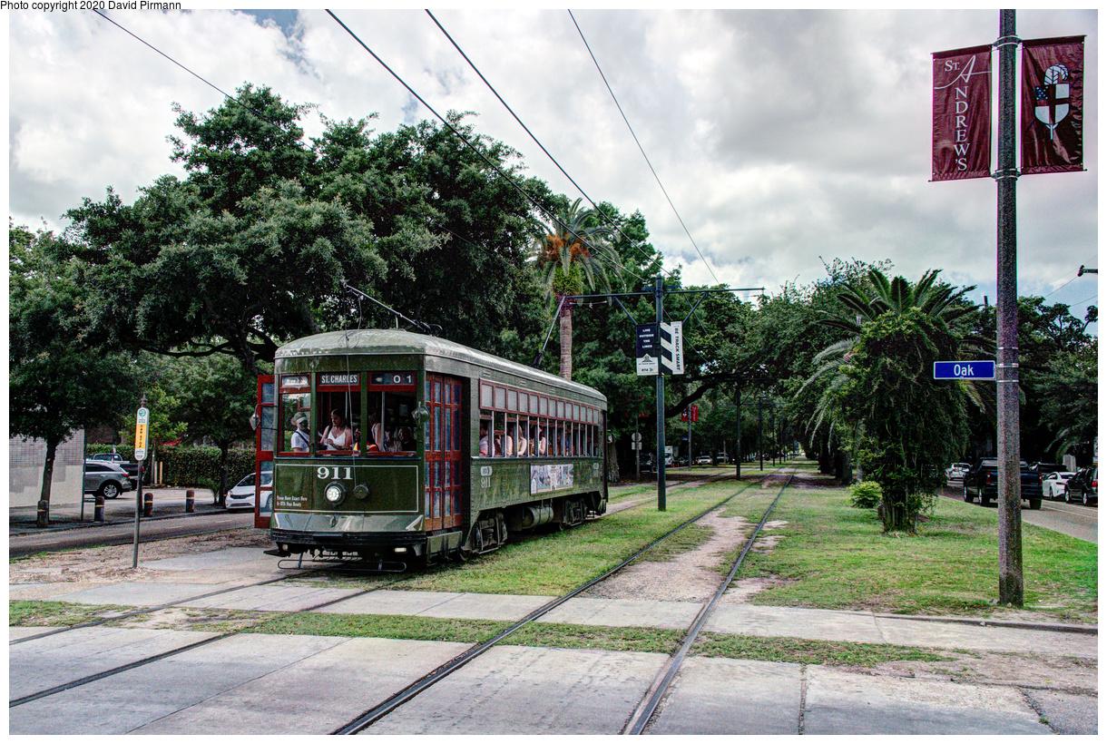 (847k, 1220x820)<br><b>Country:</b> United States<br><b>City:</b> New Orleans, LA<br><b>System:</b> New Orleans RTA<br><b>Line:</b> St. Charles<br><b>Location:</b> Carrollton/Oak<br><b>Car:</b> New Orleans Public Service (Perley A. Thomas Car Works, 1924) 911 <br><b>Photo by:</b> David Pirmann<br><b>Date:</b> 5/24/2019<br><b>Viewed (this week/total):</b> 0 / 18
