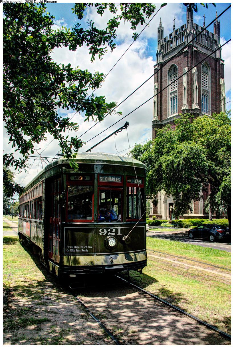 (1027k, 820x1220)<br><b>Country:</b> United States<br><b>City:</b> New Orleans, LA<br><b>System:</b> New Orleans RTA<br><b>Line:</b> St. Charles<br><b>Location:</b> St. Charles/Exposition<br><b>Car:</b> New Orleans Public Service (Perley A. Thomas Car Works, 1924) 921 <br><b>Photo by:</b> David Pirmann<br><b>Date:</b> 5/24/2019<br><b>Viewed (this week/total):</b> 0 / 12