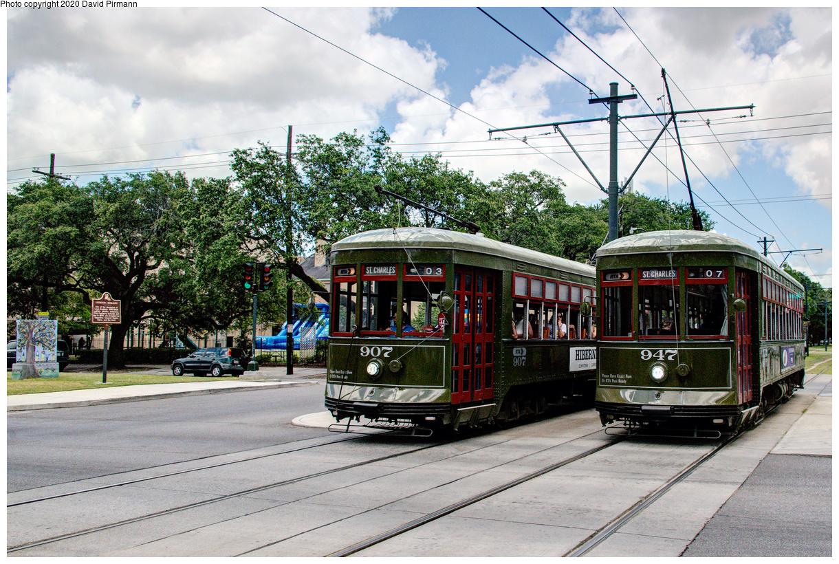 (749k, 1220x820)<br><b>Country:</b> United States<br><b>City:</b> New Orleans, LA<br><b>System:</b> New Orleans RTA<br><b>Line:</b> St. Charles<br><b>Location:</b> St. Charles/Napoleon<br><b>Car:</b> New Orleans Public Service (Perley A. Thomas Car Works, 1924) 907-947 <br><b>Photo by:</b> David Pirmann<br><b>Date:</b> 5/24/2019<br><b>Viewed (this week/total):</b> 0 / 17