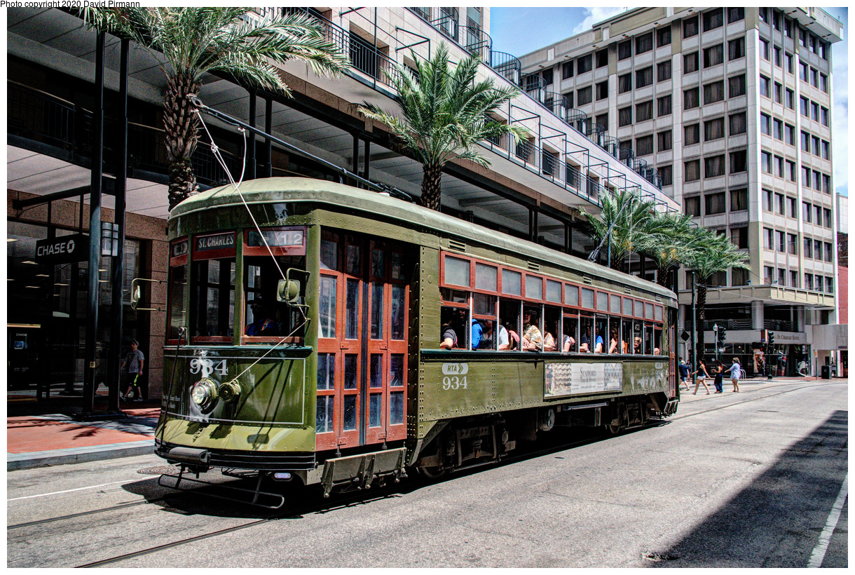 (842k, 1220x820)<br><b>Country:</b> United States<br><b>City:</b> New Orleans, LA<br><b>System:</b> New Orleans RTA<br><b>Line:</b> St. Charles<br><b>Location:</b> St. Charles/Common<br><b>Car:</b> New Orleans Public Service (Perley A. Thomas Car Works, 1924) 934 <br><b>Photo by:</b> David Pirmann<br><b>Date:</b> 5/27/2019<br><b>Viewed (this week/total):</b> 0 / 23