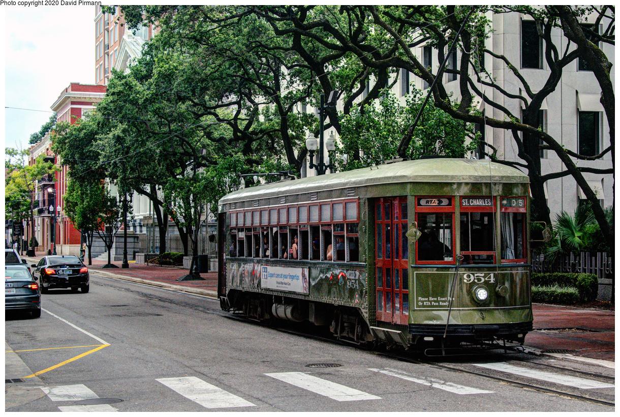 (919k, 1220x820)<br><b>Country:</b> United States<br><b>City:</b> New Orleans, LA<br><b>System:</b> New Orleans RTA<br><b>Line:</b> St. Charles<br><b>Location:</b> St. Charles/Poydras<br><b>Car:</b> New Orleans Public Service (Perley A. Thomas Car Works, 1924) 954 <br><b>Photo by:</b> David Pirmann<br><b>Date:</b> 5/27/2019<br><b>Viewed (this week/total):</b> 0 / 17