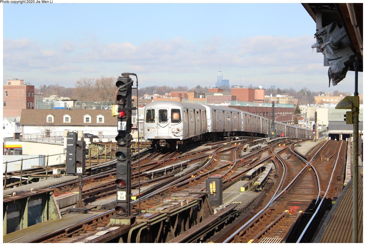 (503k, 1220x820)<br><b>Country:</b> United States<br><b>City:</b> New York<br><b>System:</b> New York City Transit<br><b>Line:</b> BMT Culver Line<br><b>Location:</b> Ditmas Avenue<br><b>Route:</b> F<br><b>Car:</b> R-46 (Pullman-Standard, 1974-75) 5504 <br><b>Photo by:</b> Jie Wen Li<br><b>Date:</b> 2/3/2020<br><b>Viewed (this week/total):</b> 5 / 396