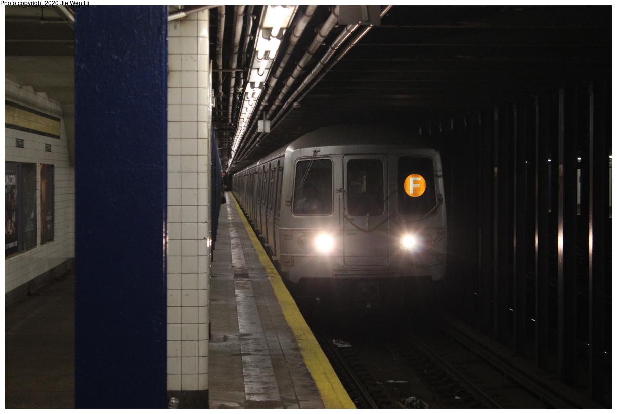 (271k, 1220x820)<br><b>Country:</b> United States<br><b>City:</b> New York<br><b>System:</b> New York City Transit<br><b>Line:</b> IND Queens Boulevard Line<br><b>Location:</b> Sutphin Boulevard<br><b>Route:</b> F<br><b>Car:</b> R-46 (Pullman-Standard, 1974-75) 5504 <br><b>Photo by:</b> Jie Wen Li<br><b>Date:</b> 2/3/2020<br><b>Viewed (this week/total):</b> 18 / 54