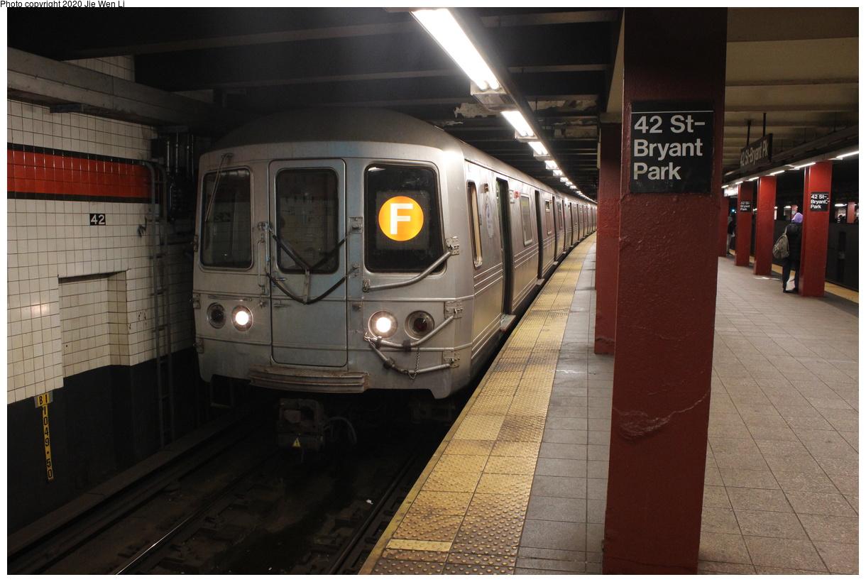 (369k, 1220x820)<br><b>Country:</b> United States<br><b>City:</b> New York<br><b>System:</b> New York City Transit<br><b>Line:</b> IND 6th Avenue Line<br><b>Location:</b> 42nd Street/Bryant Park<br><b>Route:</b> F<br><b>Car:</b> R-46 (Pullman-Standard, 1974-75) 5504 <br><b>Photo by:</b> Jie Wen Li<br><b>Date:</b> 2/3/2020<br><b>Viewed (this week/total):</b> 15 / 45