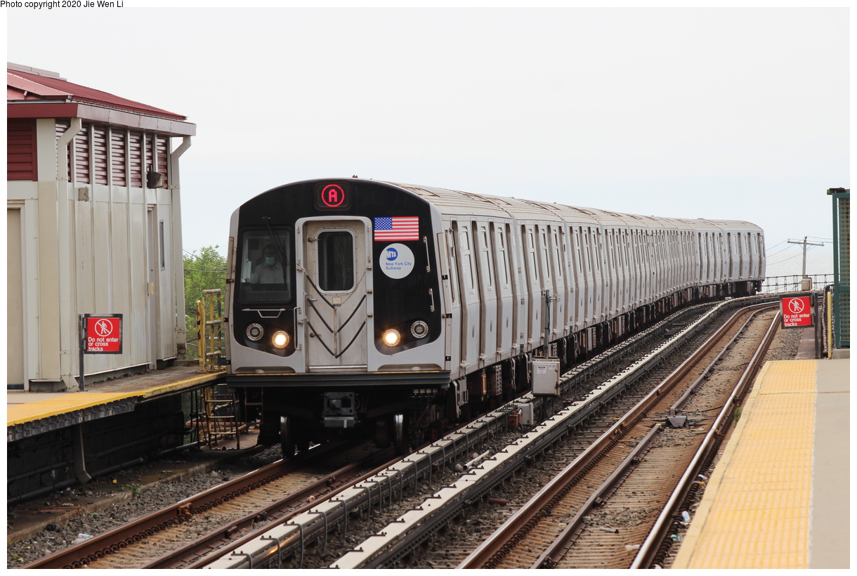 (371k, 1220x820)<br><b>Country:</b> United States<br><b>City:</b> New York<br><b>System:</b> New York City Transit<br><b>Line:</b> IND Rockaway Line<br><b>Location:</b> Beach 36th Street/Edgemere<br><b>Route:</b> A<br><b>Car:</b> R-160B (Option 2) (Kawasaki, 2009) 9898 <br><b>Photo by:</b> Jie Wen Li<br><b>Date:</b> 9/9/2020<br><b>Viewed (this week/total):</b> 4 / 320
