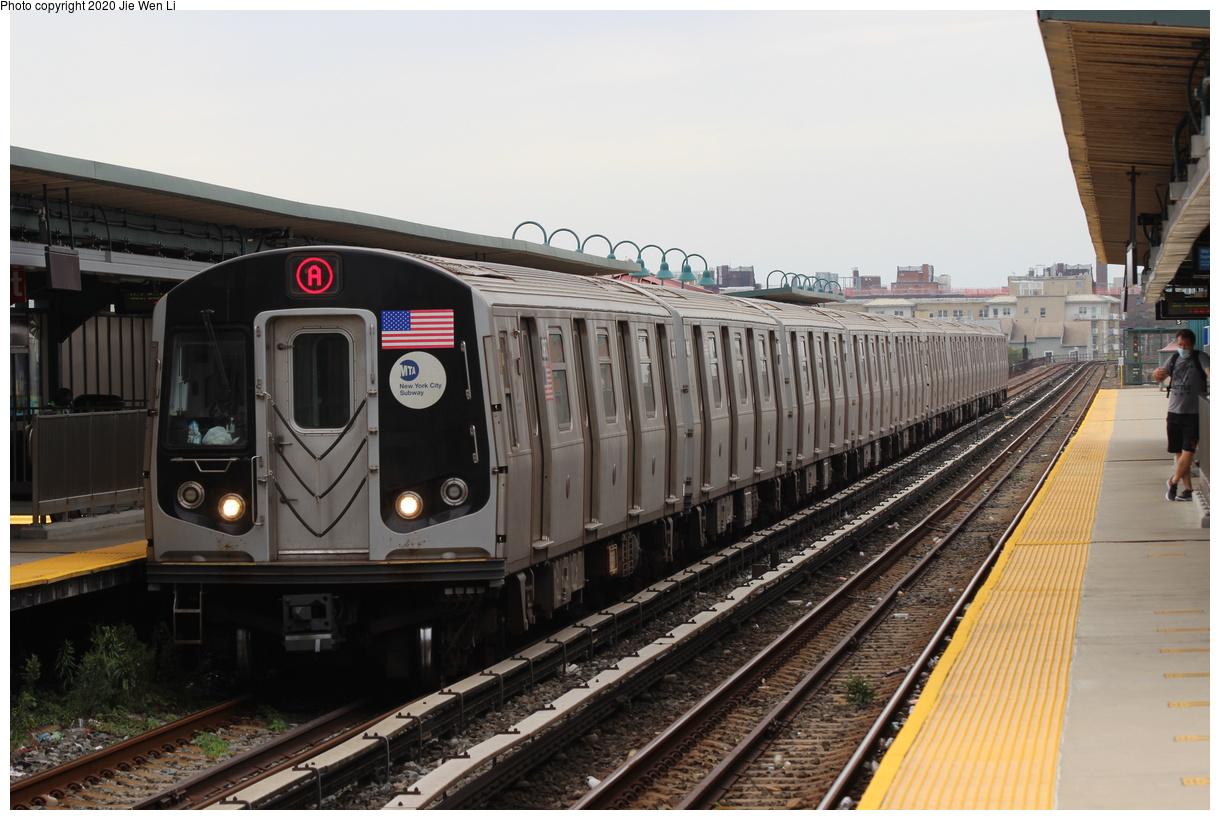 (364k, 1220x820)<br><b>Country:</b> United States<br><b>City:</b> New York<br><b>System:</b> New York City Transit<br><b>Line:</b> IND Rockaway Line<br><b>Location:</b> Beach 67th Street/Gaston Avenue<br><b>Route:</b> A<br><b>Car:</b> R-160B (Option 1) (Kawasaki, 2008-2009) 8987 <br><b>Photo by:</b> Jie Wen Li<br><b>Date:</b> 9/9/2020<br><b>Viewed (this week/total):</b> 4 / 256