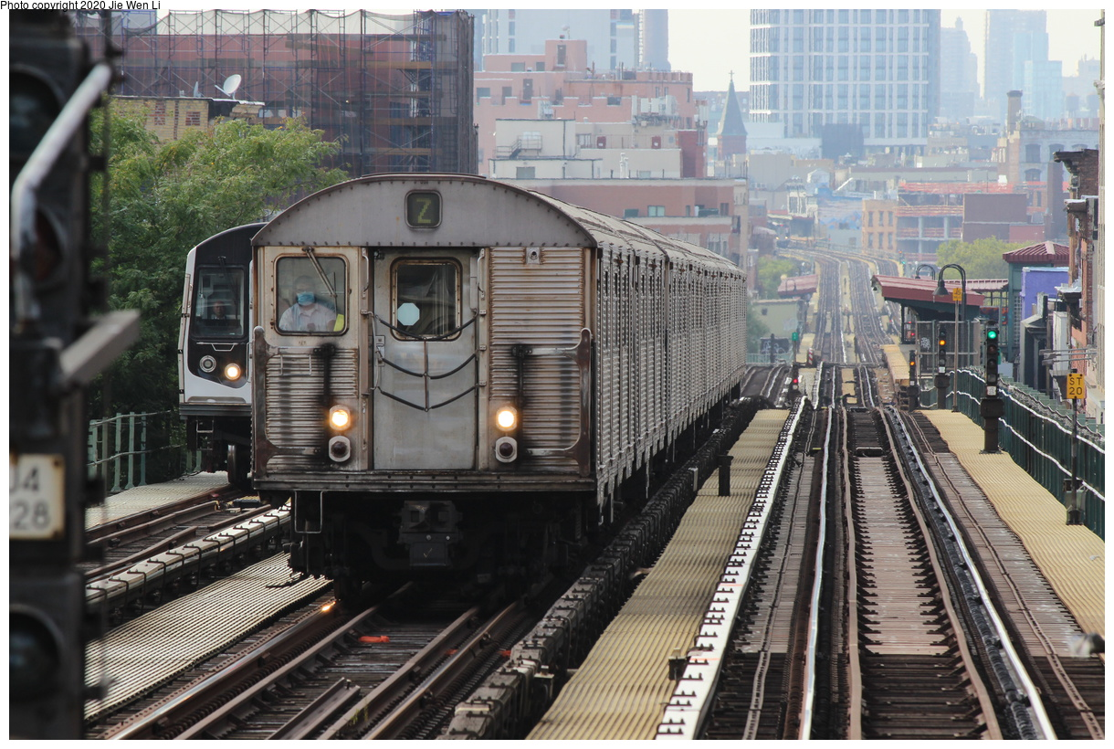 (480k, 1220x820)<br><b>Country:</b> United States<br><b>City:</b> New York<br><b>System:</b> New York City Transit<br><b>Line:</b> BMT Nassau Street-Jamaica Line<br><b>Location:</b> Myrtle Avenue<br><b>Route:</b> Z<br><b>Car:</b> R-32 (Budd, 1964) 3793 <br><b>Photo by:</b> Jie Wen Li<br><b>Date:</b> 9/9/2020<br><b>Viewed (this week/total):</b> 24 / 85