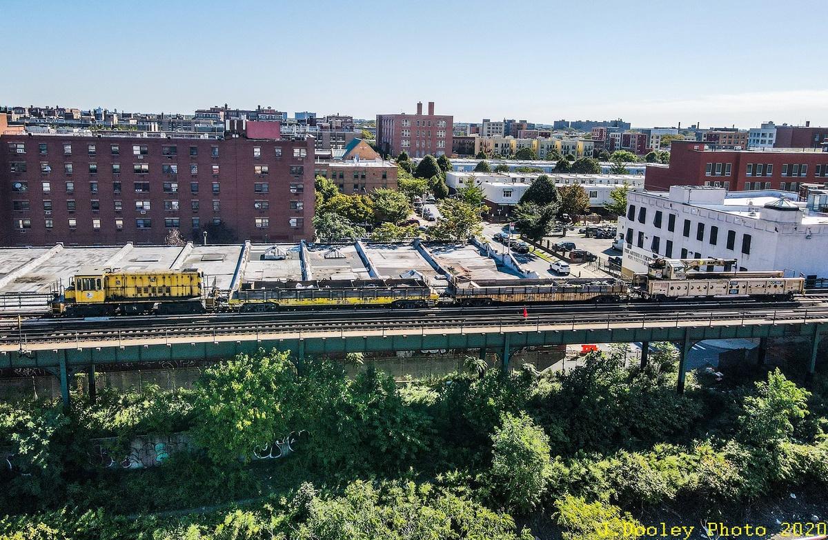 (570k, 1200x783)<br><b>Country:</b> United States<br><b>City:</b> New York<br><b>System:</b> New York City Transit<br><b>Line:</b> BMT Canarsie Line<br><b>Location:</b> Sutter Avenue<br><b>Route:</b> Work Service<br><b>Car:</b> R-52 Locomotive 74 <br><b>Photo by:</b> John Dooley<br><b>Date:</b> 9/19/2020<br><b>Viewed (this week/total):</b> 2 / 114