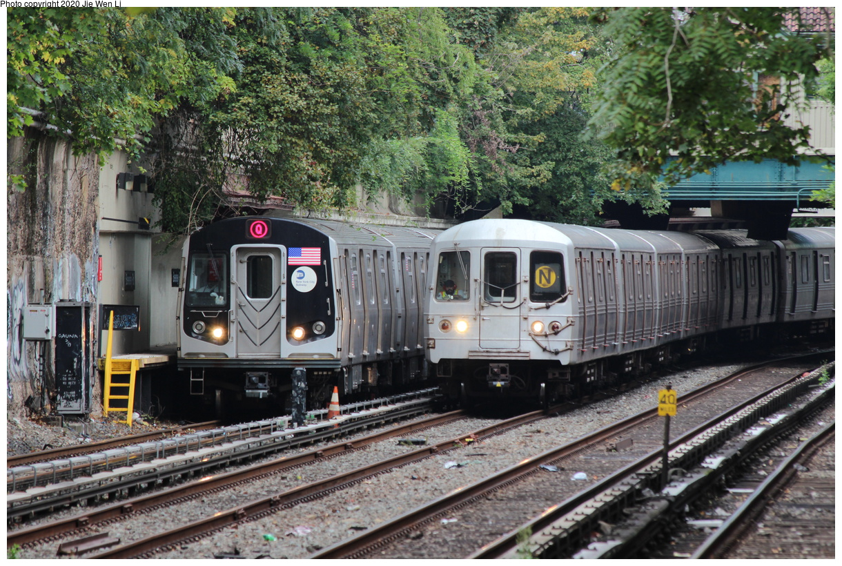 (566k, 1220x820)<br><b>Country:</b> United States<br><b>City:</b> New York<br><b>System:</b> New York City Transit<br><b>Line:</b> BMT Brighton Line<br><b>Location:</b> Beverley Road<br><b>Route:</b> Q<br><b>Car:</b> R-160B (Option 1) (Kawasaki, 2008-2009) 9012 <br><b>Photo by:</b> Jie Wen Li<br><b>Date:</b> 10/10/2020<br><b>Notes:</b> With R-46 5716 on right (weekend reroute).<br><b>Viewed (this week/total):</b> 2 / 100